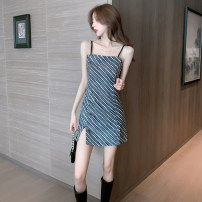 Dress Spring 2021 Zebra Stripes  S L XL M Short skirt singleton  Sleeveless commute square neck High waist stripe zipper A-line skirt Others 18-24 years old Type A Love and admiration Korean version More than 95% other Other 100% Pure e-commerce (online only)