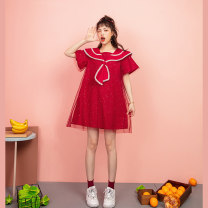 Dress Summer 2020 gules S M L Middle-skirt singleton  Short sleeve commute Admiral High waist Solid color Socket A-line skirt pagoda sleeve Others 25-29 years old Type A ZFIOD Korean version Three dimensional decorative screen 3D printing with pleated stitching Z-20B97673 More than 95% cotton