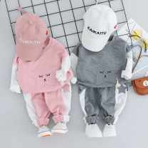 suit 3 months 6 months 12 months 9 months 18 months 2 years 3 years old Crayon jingle spring and autumn female Long sleeve + pants 2 pieces routine Korean version cotton Cartoon animation Class A No model in real shooting Condom nothing children Flax 100% 1137 Expression of love 73cm 80cm 90cm 100cm