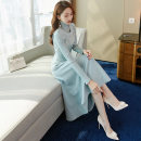 Dress Autumn 2020 Grey blue 4127 suit pink 4127 suit blue sweater light blue 4127 suit light blue vest grey blue vest grey blue sweater S M L XL Mid length dress Two piece set Long sleeves commute High collar High waist Solid color Socket Big swing routine Others 25-29 years old Type A Beichizel lady