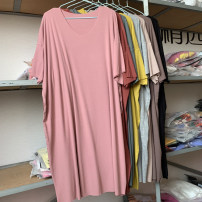 Women's large Autumn 2020 Brown, dark green, yellow, khaki, black, diamond red, light grey, light pink Big size average T-shirt singleton  commute Self cultivation moderate Socket Long sleeves Solid color, letter Crew neck Medium length Polyester, cotton routine Lace stitching Medium length