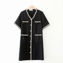 Women's large Summer 2021 black Large XL, 2XL, 3XL, 4XL Dress singleton  commute easy thin Socket Short sleeve Other, solid V-neck routine Others, polyester, cotton routine HT6021` Bright silk Medium length other