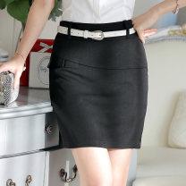 skirt Spring of 2019 S M L XL 2XL 3XL 4XL Black Khaki Short skirt commute Natural waist Suit skirt Solid color 30-34 years old JJ-WS616 91% (inclusive) - 95% (inclusive) Ji Jie polyester fiber Korean version Polyester 95% polyurethane elastic fiber (spandex) 5% Pure e-commerce (online only)
