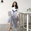 Dress other Red, blue Average size Korean version elbow sleeve Medium length summer Crew neck stripe