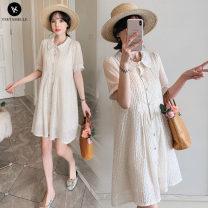 Dress other Picture color M. L, XL, XXL, XXXL, increase XXXL Korean version Short sleeve Medium length summer Lapel Solid color