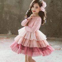 Dress Pink cake skirt (velvet), black cake skirt (spring and Autumn), green baby collar (spring and Autumn), green baby collar (velvet) female Other / other 100cm,110cm,120cm,130cm,140cm Other 100% Solid color other A-line skirt Three months, 12 months