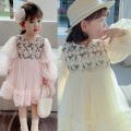Dress Pink light pink flower dress, apricot rice apricot flower dress, blue star skirt female Other / other 90cm,100cm,110cm,120cm,130cm,140cm Other 100% other Cake skirt Three months, 12 months