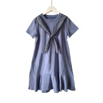 Dress D43 - grey blue female Other / other 110cm,120cm,130cm,140cm,150cm,160cm,165cm Cotton 100% spring and autumn princess Long sleeves Solid color cotton A-line skirt U59144 Class A 6 months