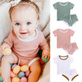 suit TinyClub 66cm,73cm,80cm,90cm,100cm neutral summer Europe and America Short sleeve + pants 2 pieces Thin money There are models in the real shooting Socket nothing Solid color cotton Class A Cotton 95% other 5% 3 months, 6 months, 12 months, 9 months, 18 months, 2 years old