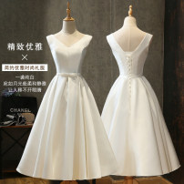 Dress / evening wear Wedding, adulthood, party, company annual meeting, performance, routine, appointment Korean version Medium length middle-waisted Spring of 2019 Skirt Princess Deep collar V Bandage Brocade, poplin 18-25 years old Sleeveless other