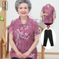 Middle aged and old women's wear Summer 2020 Blue Phoenix Tail red phoenix tail blue Narcissus red Narcissus blue Lily red lily L XL XXL XXXL 4XL Happiness shirt easy Two piece set Decor Over 60 years old Cardigan thin Polo collar routine routine ZN9242 Left warm Button other Other 100% 96% and above
