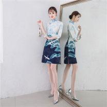 cheongsam Winter of 2018 S M L XL XXL Blue red three quarter sleeve Short cheongsam ethnic style Low slit SJ1947 ANVNA polyester fiber Polyester 100% Pure e-commerce (online only)