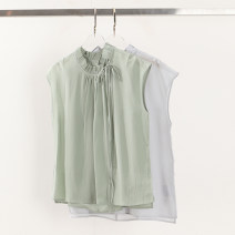shirt Green, light blue M,L,XL Spring 2021 silk 96% and above Sleeveless commute Regular stand collar Socket Solid color Straight cylinder Yiwuqi 410-078 Frenulum