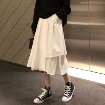 skirt Spring 2020 S. M, l, XL, XXS pre-sale White, black Mid length dress High waist Solid color 18-24 years old 30% and below polyester fiber