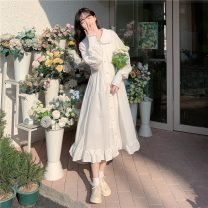 Dress Spring 2021 White dress Average size Miniskirt singleton  Long sleeves Sweet Doll Collar High waist Solid color Socket Big swing puff sleeve Others 18-24 years old Type A Pleating 51% (inclusive) - 70% (inclusive) other polyester fiber solar system