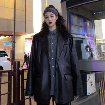 short coat Autumn 2020 M. L, XXS pre-sale Brown, black Long sleeves Medium length routine singleton  easy commute routine tailored collar Single row two buttons Solid color 18-24 years old Other / other Pocket, button PU leather