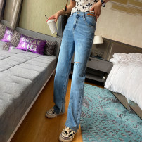Jeans Spring 2021 Denim blue S,M,L,XL trousers Natural waist Wide legged trousers routine 25-29 years old Make old , Grinding white , zipper , Button , Multiple pockets Thin denim light colour HC6019 spread 51% (inclusive) - 70% (inclusive)
