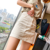 skirt Spring 2021 M,L,XL Off white, light card color Middle-skirt commute Natural waist skirt Solid color 25-29 years old HLS6627 51% (inclusive) - 70% (inclusive) other spread other Pocket, button, zipper Korean version