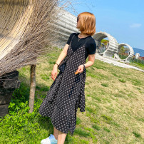 Dress Summer 2021 black M,L,XL Mid length dress Two piece set Short sleeve commute Crew neck middle-waisted letter Socket other routine camisole 25-29 years old Type H Korean version printing PLD1837