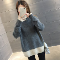 sweater Winter of 2018 Average size Blue Pink Beige grey Long sleeves Socket Fake two pieces Regular other 95% and above Half high collar thickening commute routine Solid color Straight cylinder Regular wool Keep warm and warm 18-24 years old Chevensie XFX-2018102853 Splicing thread Other 100%