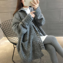 sweater Spring of 2019 Average size Long sleeves Cardigan Fake two pieces Medium length other 95% and above V-neck thickening commute routine Solid color Straight cylinder Regular wool Keep warm and warm 18-24 years old Chevensie Patch pocket stitching Other 100% Pure e-commerce (online only)