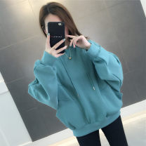 Sweater / sweater Spring 2020 Average size Long sleeves routine Socket singleton  thickening Hood easy commute Bat sleeve Solid color 18-24 years old 96% and above Chevensie Korean version other Pocket lace up stitching Other 100% Pure e-commerce (online only)