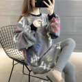 Sweater / sweater Autumn of 2019 Grey light card Average size Long sleeves Medium length Socket singleton  Plush Crew neck Straight cylinder commute bishop sleeve letter 18-24 years old 96% and above Chevensie Korean version other XFX192124 Printed stitching thread Other 100%
