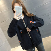 Wool knitwear Autumn of 2019 Average size Long sleeves singleton  Cardigan other More than 95% Regular thickening commute easy other routine Solid color zipper Korean version 18-24 years old Chevensie Embroidered zipper Other 100% Pure e-commerce (online only)