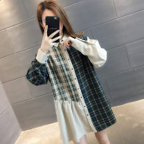 Sweater / sweater Autumn of 2019 Dark green lattice Average size Long sleeves Medium length Cardigan Fake two pieces thickening Polo collar Straight cylinder commute shirt sleeve lattice 18-24 years old 96% and above Chevensie Korean version other Stitching buttons Other 100% Single breasted