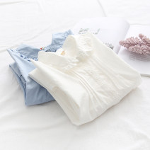shirt White light blue Single code Autumn 2020 cotton 96% and above Long sleeves Sweet Regular Doll Collar Single row multi button routine Solid color 18-24 years old Straight cylinder Yousha Button Cotton 100% Exclusive payment of tmall solar system
