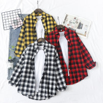 shirt Black and white check red check yellow check black single pocket red single pocket yellow single pocket yellow plush red plush black Plush S M L XL Autumn of 2019 cotton 96% and above Long sleeves Versatile Regular Polo collar Single row multi button routine lattice 18-24 years old Yousha