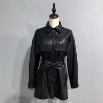 leather clothing WHLP Autumn 2020 XS,S,M,L black Medium length Long sleeves Self cultivation commute square neck zipper routine PU pocket 25-29 years old Wash skin
