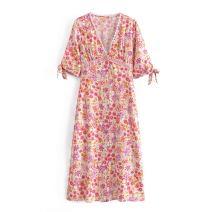 Dress Summer 2021 gules S,M,L Mid length dress singleton  elbow sleeve street V-neck High waist Broken flowers Socket WHLP printing A-60487 Europe and America
