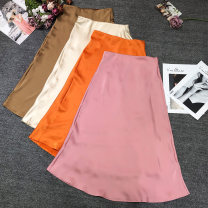 skirt Summer 2020 S,M,L Khaki, beige, pink, orange Mid length dress street Solid color Type A 13-9344 Europe and America