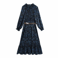 Dress Winter 2020 As shown in the figure XS,S,M,L longuette singleton  Long sleeves commute Crew neck middle-waisted Broken flowers Socket A-line skirt routine Others Type A WHLP Retro printing 11-3118 81% (inclusive) - 90% (inclusive) other