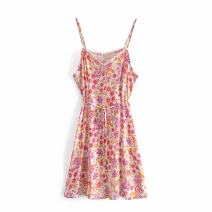 Dress Summer 2021 As shown in the figure S,M,L Short skirt singleton  Sleeveless street other High waist Broken flowers Socket A-line skirt routine camisole Type A WHLP Print, Sequin A-60488 More than 95% other other Europe and America