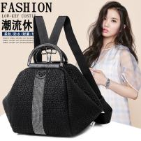Backpack PU Other / other black brand new in zipper leisure time Double root Japan and South Korea soft youth yes Soft handle Solid color nothing female Water splashing prevention Conchoidal Zipper bag, mobile phone bag, certificate bag polyester fiber Diamond inlay no 10 inches Three dimensional bag
