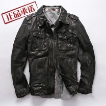 leather clothing Others Fashion City black 3XL, 2XL, XL, l, m, 4xl-185 have cash less than that is registered in the accounts Leather clothes Lapel Slim fit zipper autumn leisure time youth Goat skin tide ZG-224 Cloth hem Three dimensional bag Multiple pockets No iron treatment Animal pattern