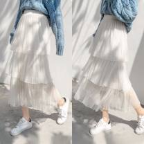 skirt Summer of 2019 XL,L,M,XXL Black, white, apricot, pink Short skirt street Pleated skirt Solid color 25-29 years old Chiffon The flower contains the posture other fold 101g / m ^ 2 (including) - 120g / m ^ 2 (including)