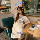 Dress Summer 2021 Middle-skirt singleton  Short sleeve Sweet other High waist other Condom A-line skirt other Others 18-24 years old printing Tingyin wp-2014 71% (inclusive) - 80% (inclusive) other other college S,M,L,XL