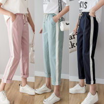 Casual pants S. M, l, XL, XXL Spring of 2019 Ninth pants Natural waist commute Thin money 25-29 years old 91% (inclusive) - 95% (inclusive) LS03 hemp lady