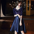 Dress / evening wear Weddings, adulthood parties, company annual meetings, daily appointments XS S M L XL XXL M19210 dark blue [front short back long] m19210 dark blue [medium long] m19210 dark blue [long] fashion Short skirt middle-waisted Winter of 2019 Skirt hem Deep collar V zipper SU19210