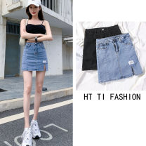 skirt Summer 2021 26 27 28 29 30 31 Blue (with safety pants) black (with safety pants) Short skirt commute High waist A-line skirt Solid color Type A HT974719 71% (inclusive) - 80% (inclusive) Denim Jody cotton Pocket button dovetail patch split Korean version Pure e-commerce (online only)