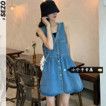 Dress Summer 2021 blue S M L XS Short skirt singleton  Sleeveless commute V-neck Solid color A-line skirt straps 18-24 years old Sezo Korean version More than 95% other Other 100% Pure e-commerce (online only)