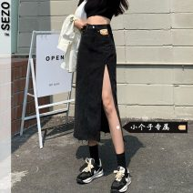 skirt Summer 2021 S M L XS Black light blue Mid length dress Natural waist Denim skirt 18-24 years old More than 95% Sezo other Other 100% Pure e-commerce (online only)