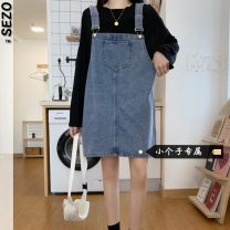 Dress Summer 2021 Blue black S M L XS Short skirt singleton  commute A-line skirt straps 18-24 years old Type A Sezo Korean version pocket More than 95% Denim other Other 100% Pure e-commerce (online only)