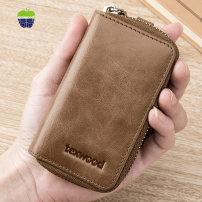 key case cowhide Texwood / Texaco Khaki Brown Yellow Brown Khaki without clasp yellow brown without clasp coffee without clasp brand new zipper Solid color Retro youth Sewing Change, card, key Erect funds AH8E0021 male polyester fiber top layer leather Spring / summer 2018