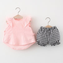 suit Other / other White, pink 66cm,73cm,80cm,85cm,90cm,95cm,100cm female summer leisure time Sleeveless + pants 2 pieces Thin money No model Socket nothing Solid color cotton children birthday T2104025 Class A Cotton 95% polyester 5% Chinese Mainland