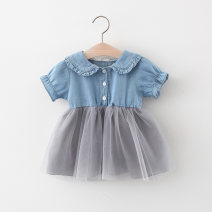 Dress White, gray female Other / other 66cm,73cm,80cm,85cm,90cm,95cm,100cm Cotton 95% polyester 5% summer Sweet Short sleeve Solid color cotton Splicing style Q2104018 Class A 12 months, 6 months, 9 months, 18 months, 2 years, 3 years, 4 years Chinese Mainland Hubei province Wuhan City