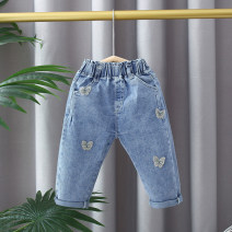 trousers Other / other female 80cm,85cm,90cm,95cm,100cm,105cm,110cm wathet spring and autumn trousers Korean version Jeans Leather belt middle-waisted Cotton denim Open crotch Cotton 97% polyurethane elastic fiber (spandex) 3% 12 months, 6 months, 9 months, 18 months, 2 years, 3 years, 4 years